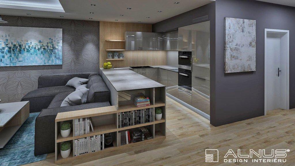 moderní kuchyně s obývákem dohromady v šedé barvě a světlém dřevě