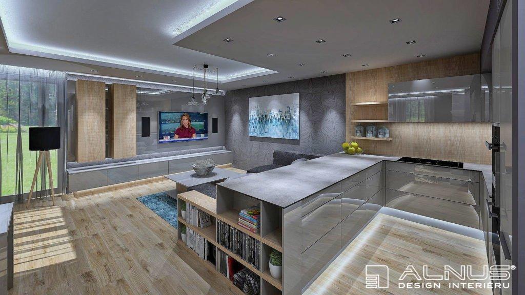kuchyně s obývacím pokojem v šedé barvě a světlém dřevě s podsvícením stropu