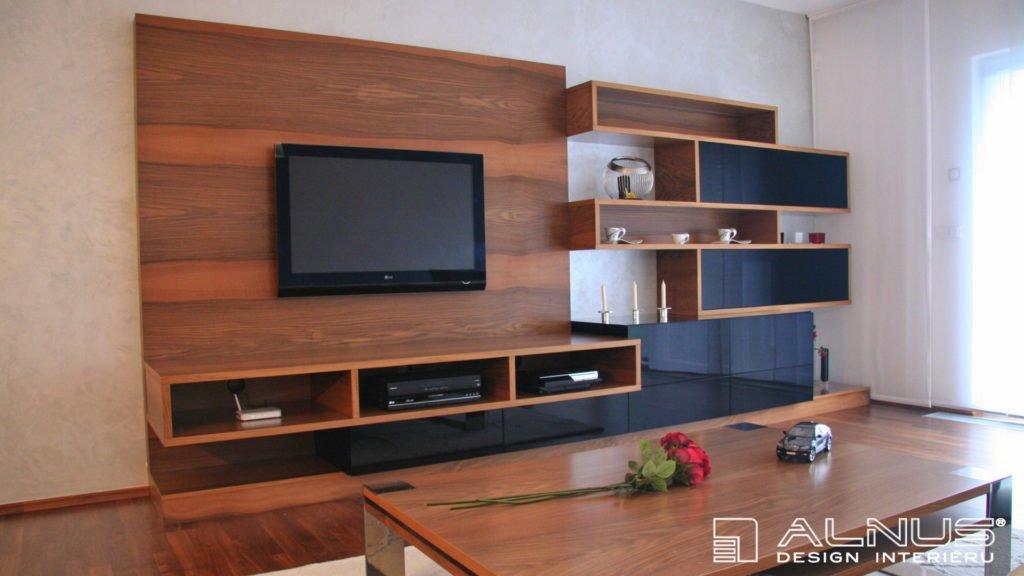 moderní obývací stěna v interiéru bytu