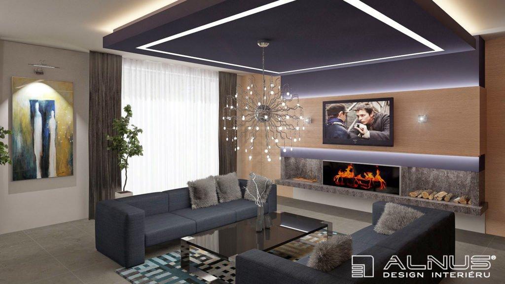 moderní obývací pokoj s krbem a nasvícením stropu