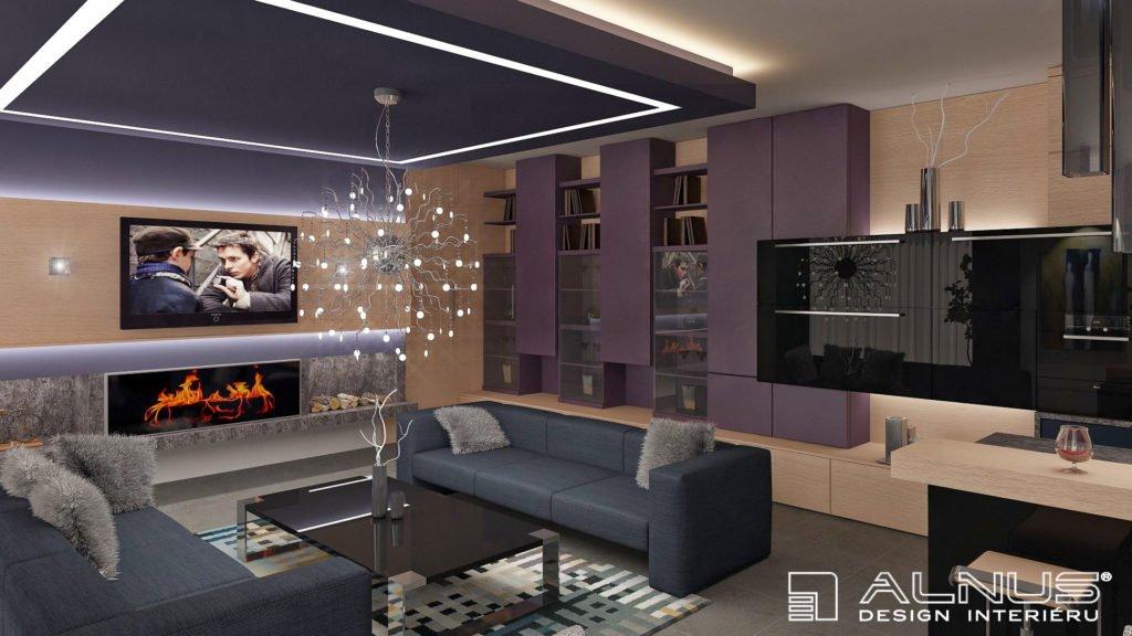 obývací stěna propojená s kuchyní