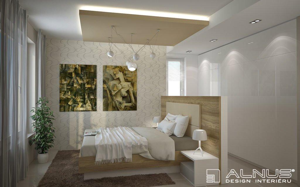 moderní ložnice s postelí v prostoru
