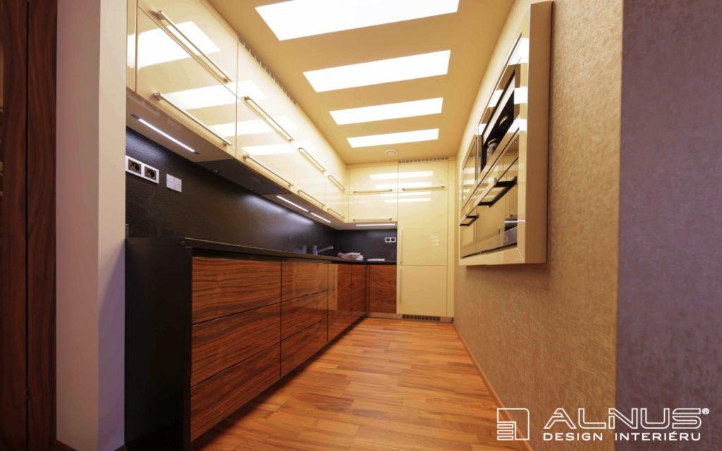 osvětlení moderní kuchyně v malém bytě 2+kk