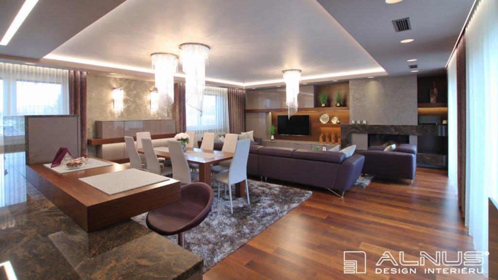obývací pokoj s kuchyní a krbem obložený žulou