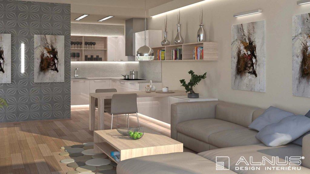 kuchyně s obývákem v malém prostoru v běleném dubu