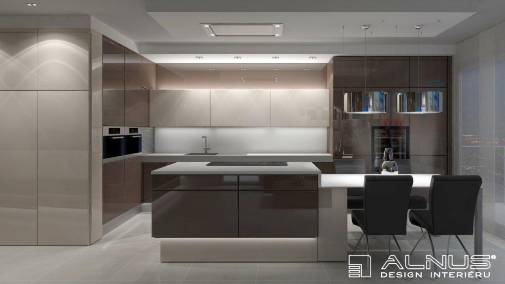 moderní barvy v kuchyni s ostrůvkem