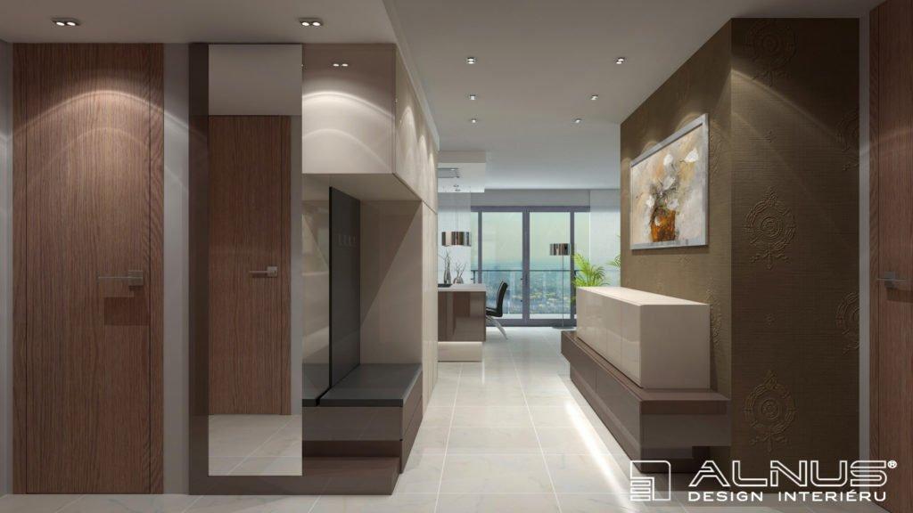 propojení kuchyně s obývákem a předsíní v interiéru bytu 3+kk