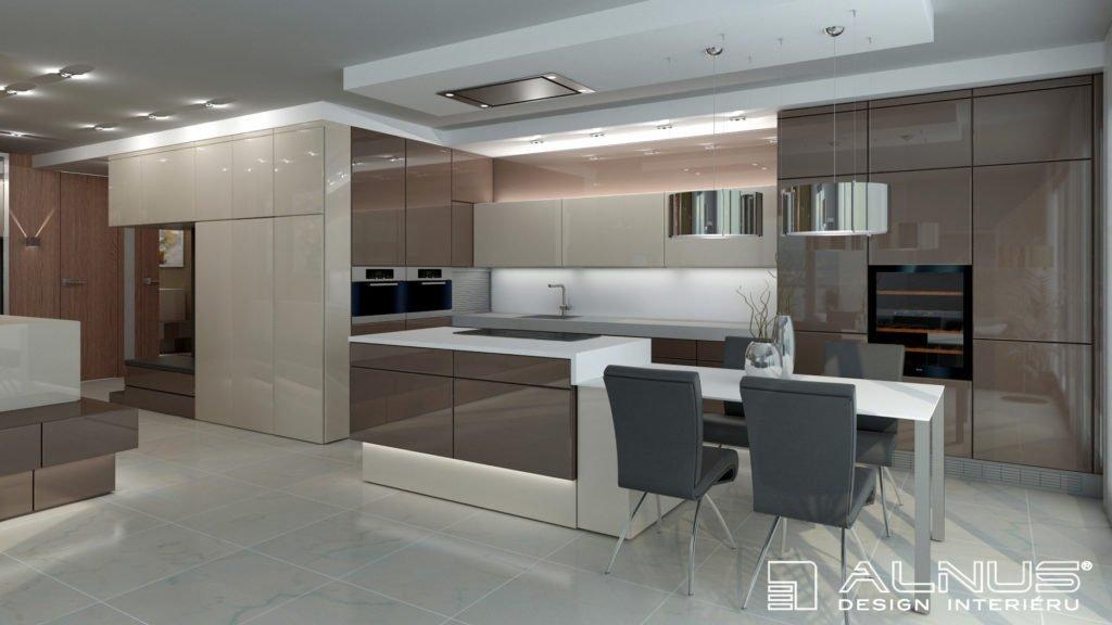 kuchyně s obývacím pokojem a velkým úložným prostorem