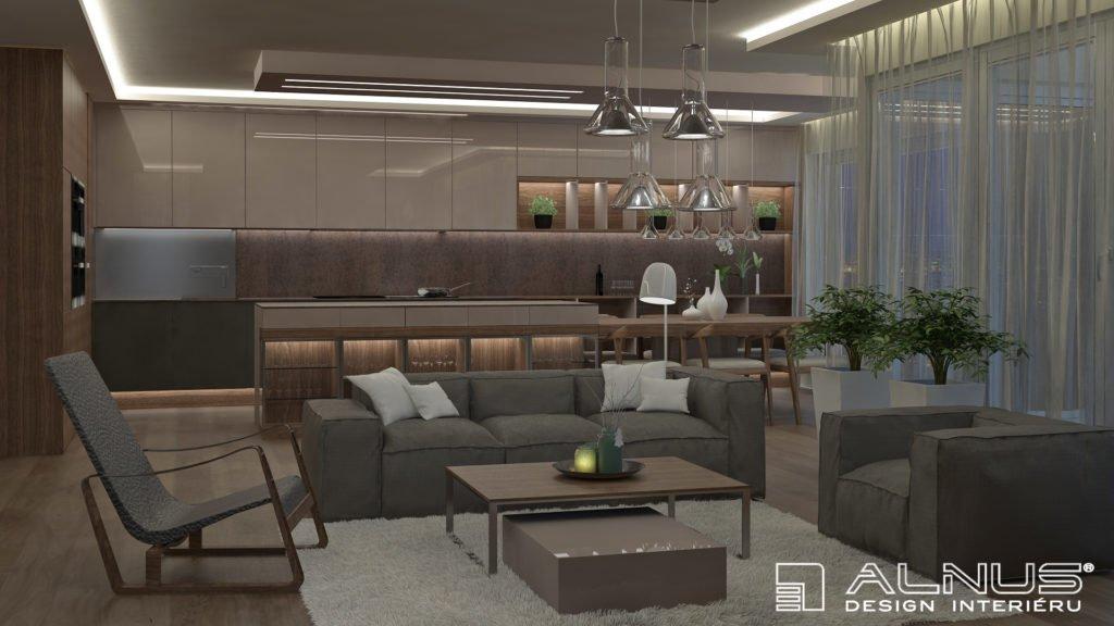 obývací pokoj s kuchyní v interiéru bytu 3+kk