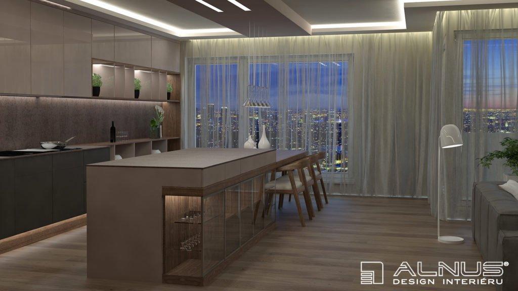 design kuchyně s ostrůvkem a integrovaným jídelním stolem
