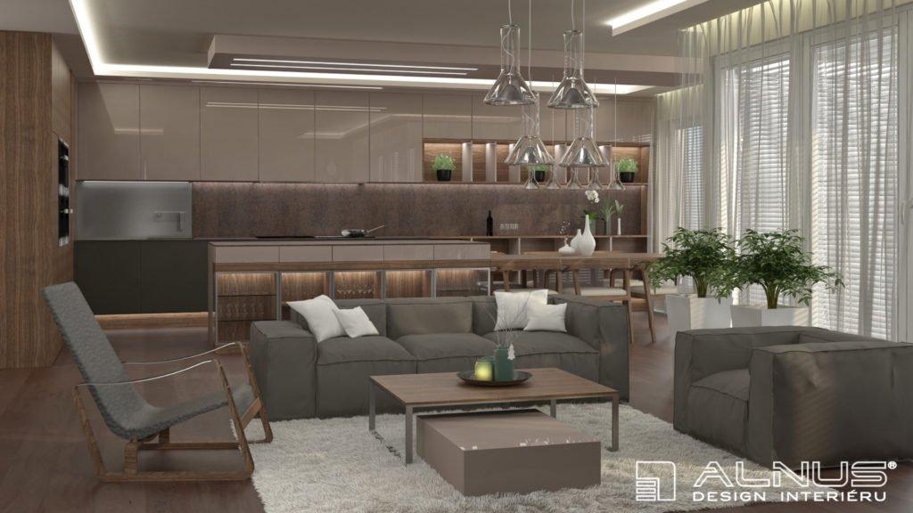 design kuchyně s obývacím pokojem