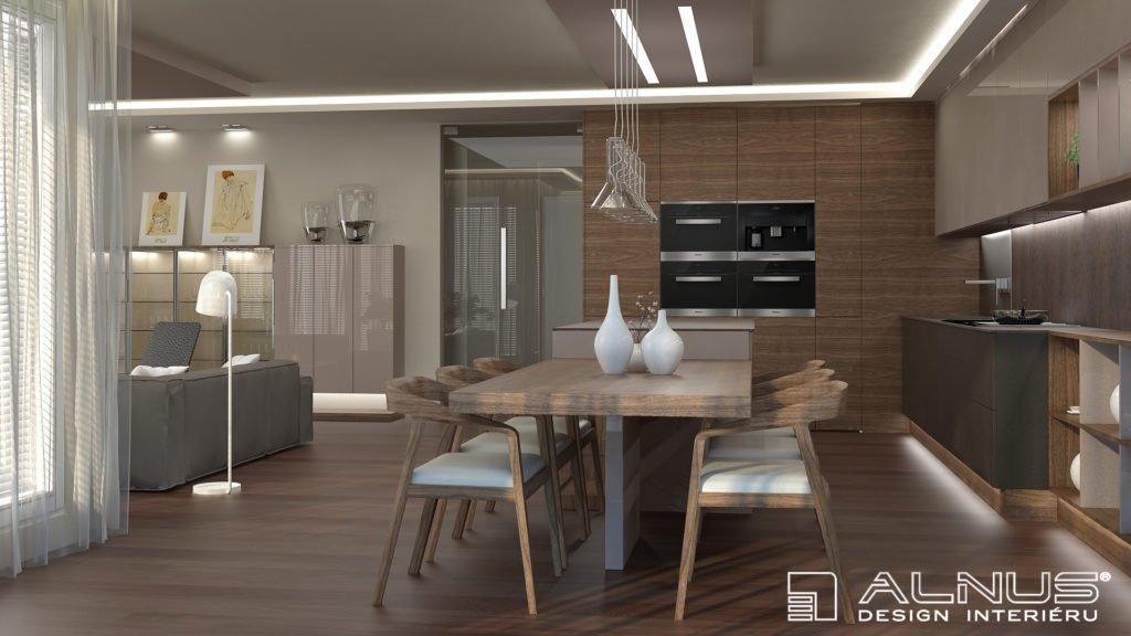 design interiéru bytu kuchyně a obývacího pokoje dohromady
