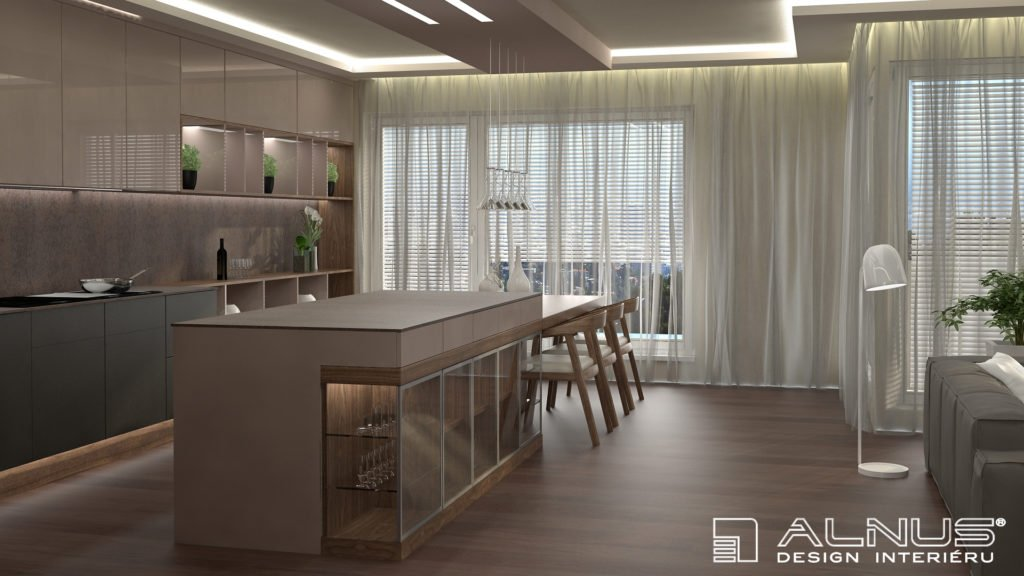 kompaktní pracovní deska kuchyně s integrovaným jídelním stolem