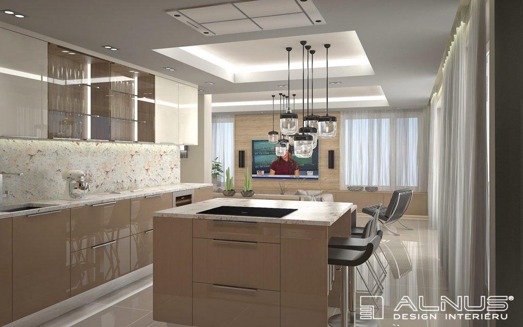 kuchyně s ostrůvkem s nasvícenými podhledy