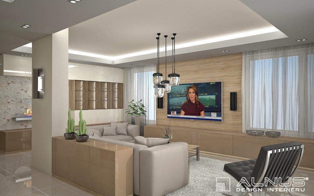 moderní obývací pokoj s biokrbem a podsvícením stropu