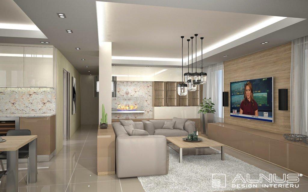 moderní obývací pokoj s biokrbem v bytě 3+kk