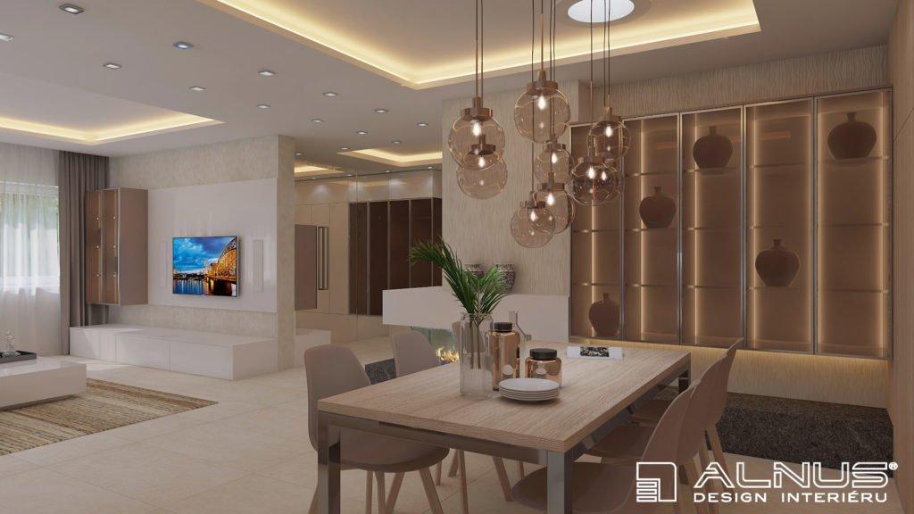 moderní interiér s podsvícením stropu