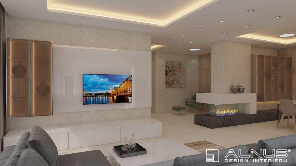 moderní obývací pokoj s krbem v bílé barvě