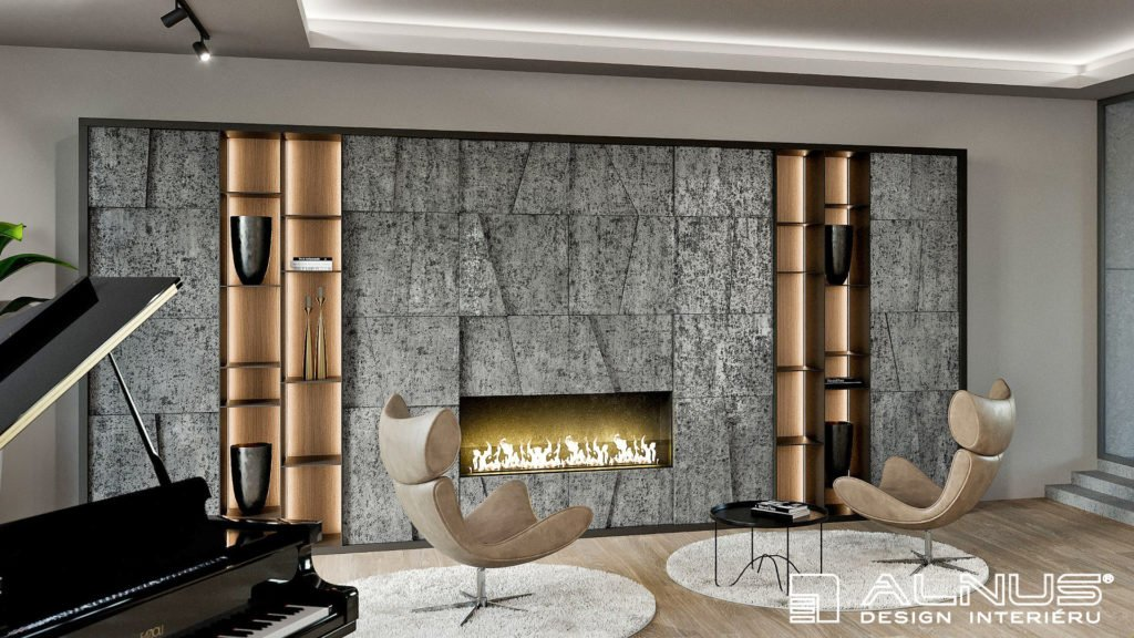 moderní obývací pokoj s krbem a obložený kamenem