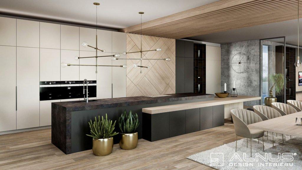 kuchyně s ostrůvkem v interiéru domu