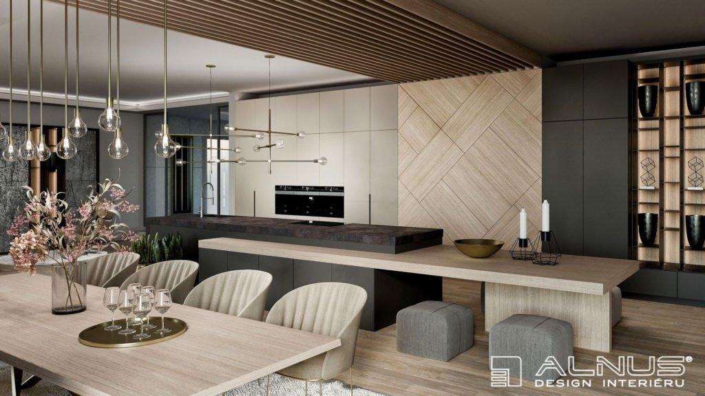 kuchyně s jídelnou a obývacím pokojem a s dřevěnými obklady