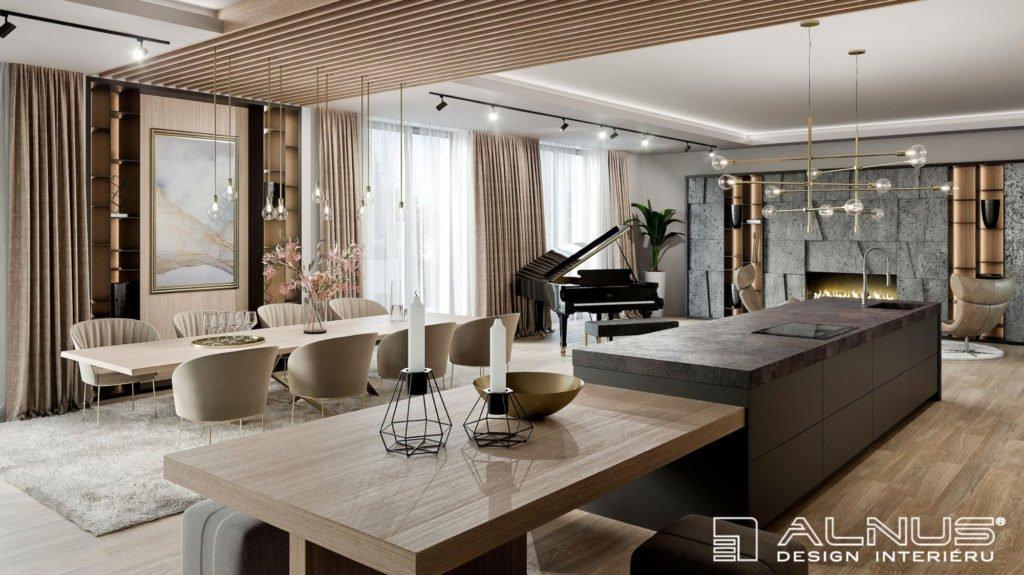 kuchyně s jídelnou a obývacím pokojem