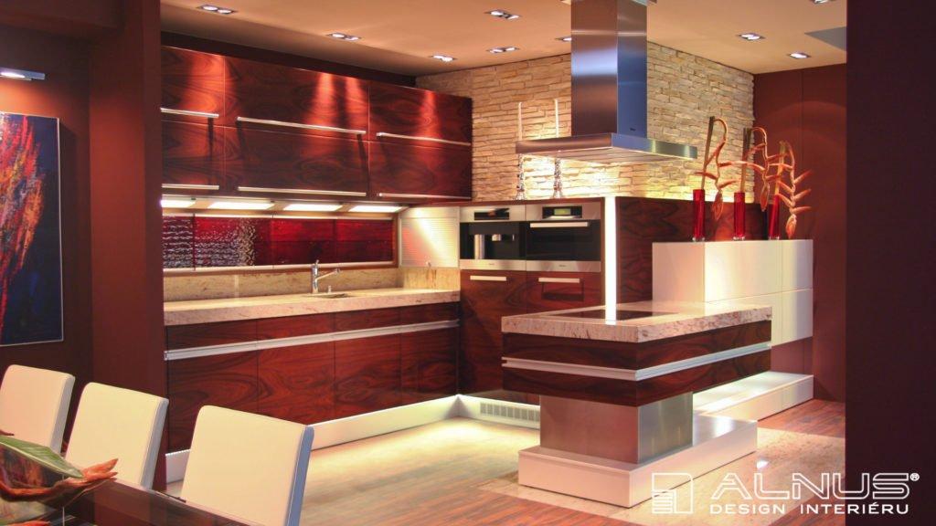 moderní kuchyně s ostrůvkem v exotické dýze