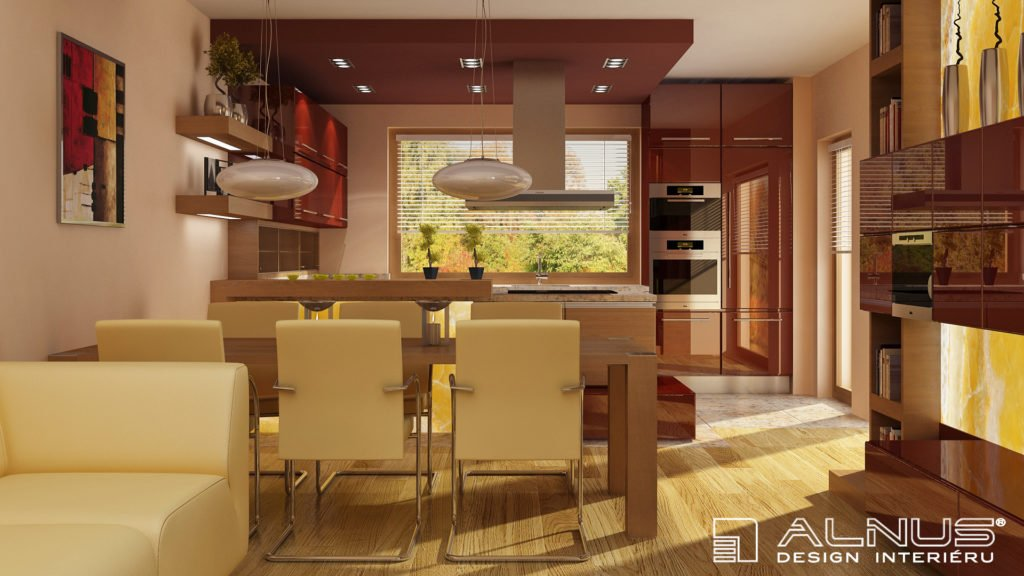 obývací pokoj s kuchyní a jídelnou dohromady