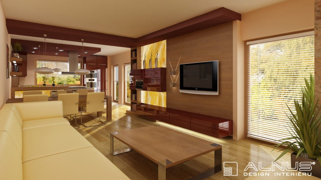 obývací pokoj s kuchyní a jídelnou v dubové dýze v kombinaci s barvou