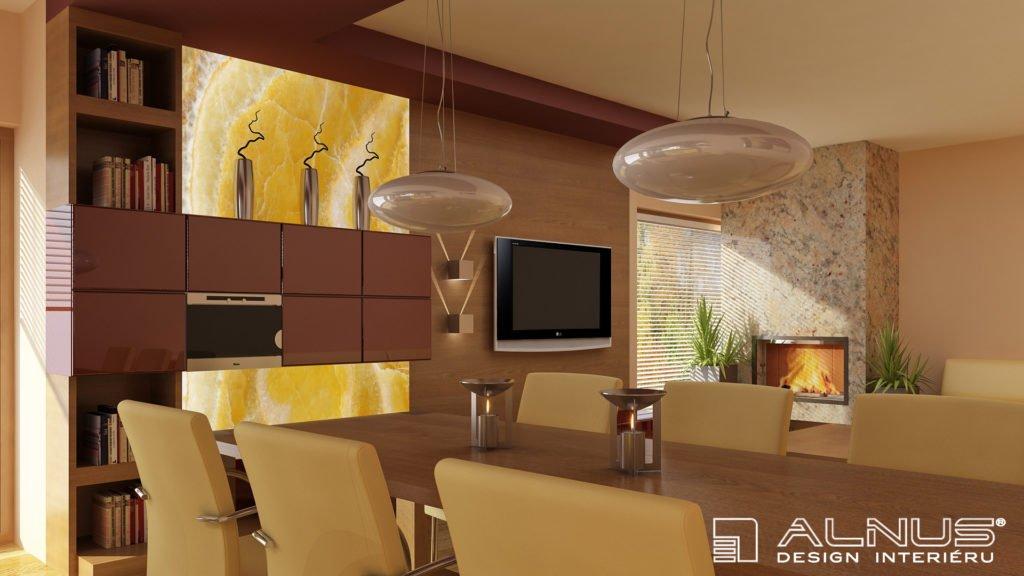 moderní obývací pokoj s krbem ve vínové barvě