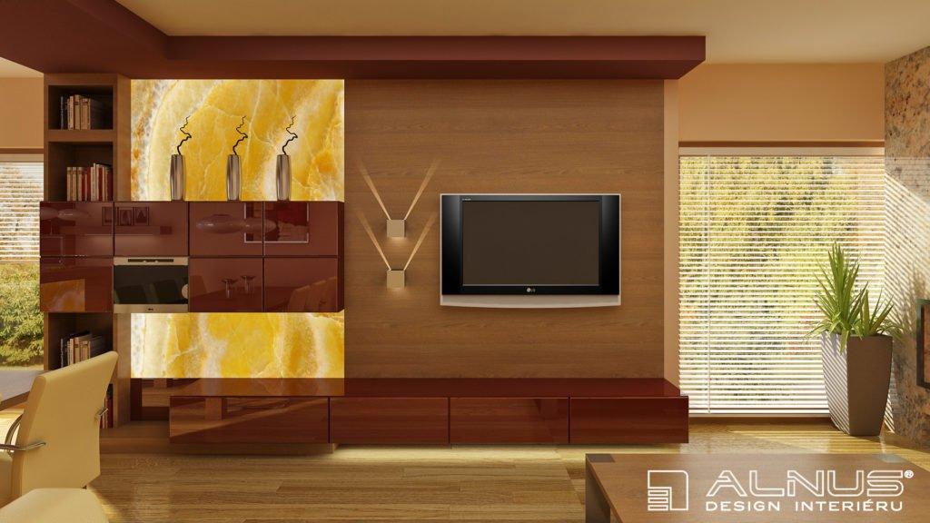 tv stěna v moderním interiéru domu