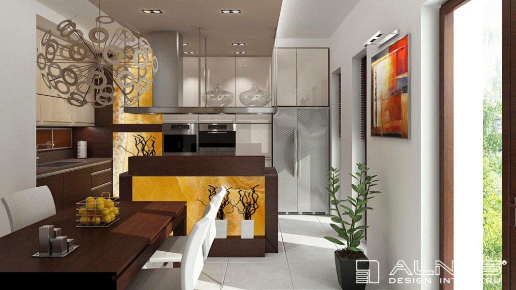 moderní kuchyně v béžové barvě s ostrůvkem