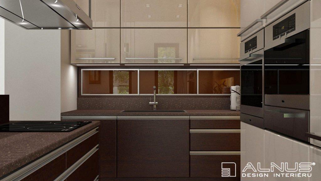 moderní kuchyně v béžové a hnědé barvě