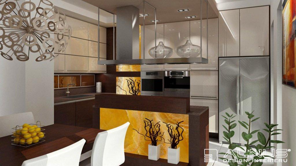 moderní kuchyně v béžové barvě s americkou lednicí