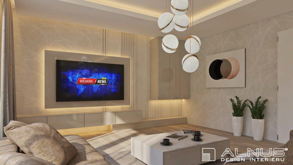tv stěna v moderním obývacím pokoji