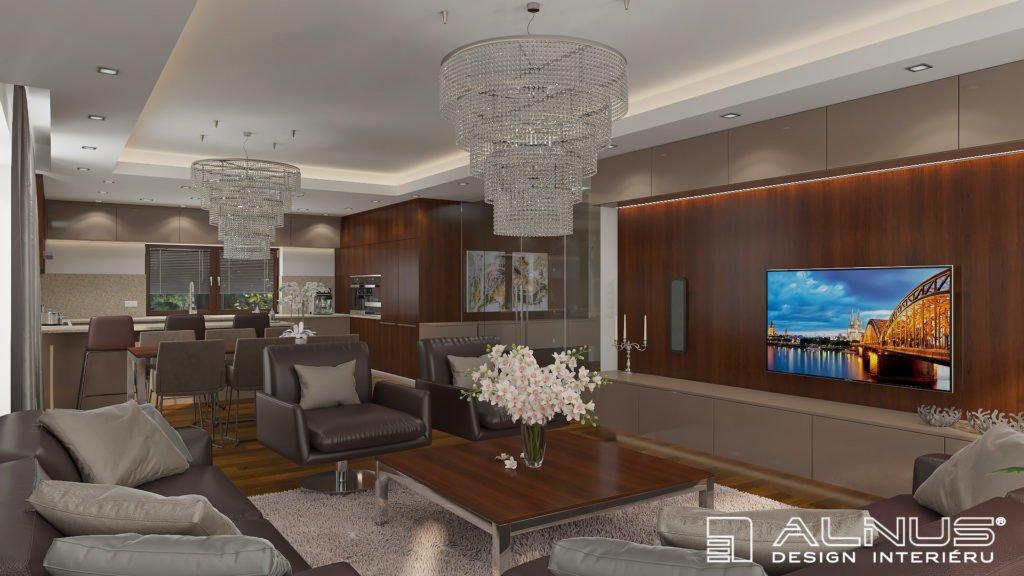 moderní obývací pokoj s kuchyní a jídelnou