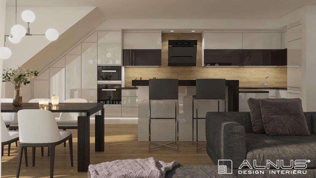 moderní kuchyně ve vysokém lesku v interiéru podkroví
