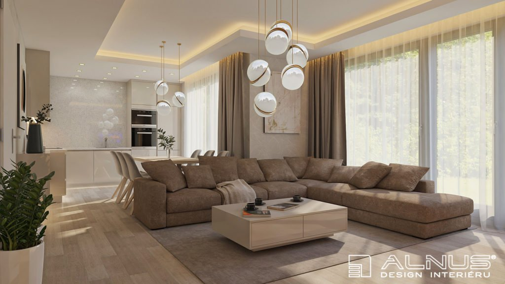 moderní obývací pokoj s kuchyní