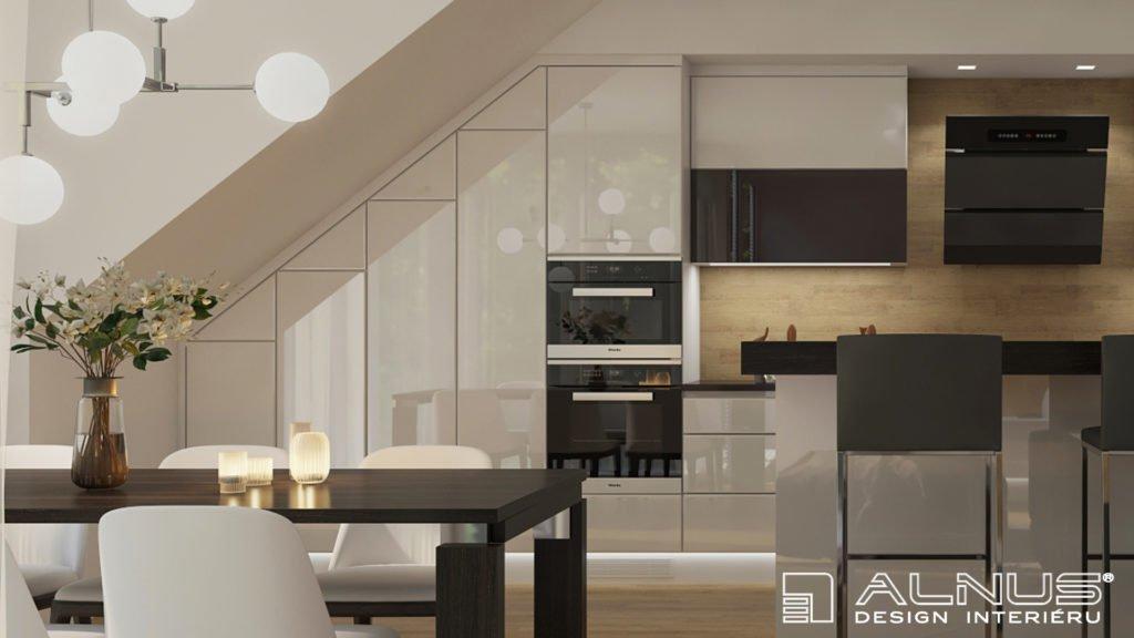 realizace interiéru v podkroví kuchyně a obývacího pokoje