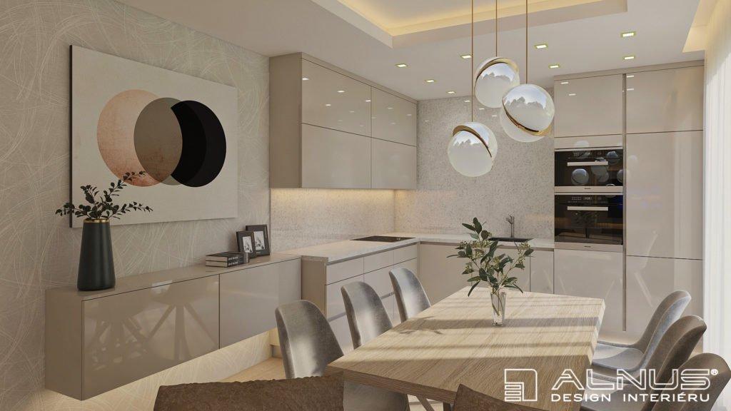 moderní kuchyně ve vysokém lesku s jídelnou ve světlých odstínech