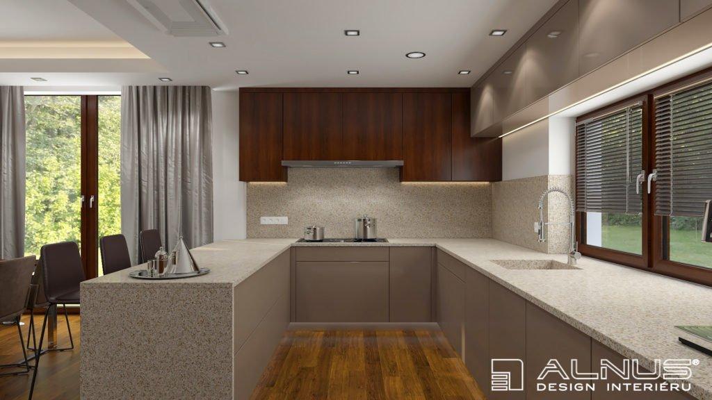 moderní kuchyně s oknem a žulovým dřezem
