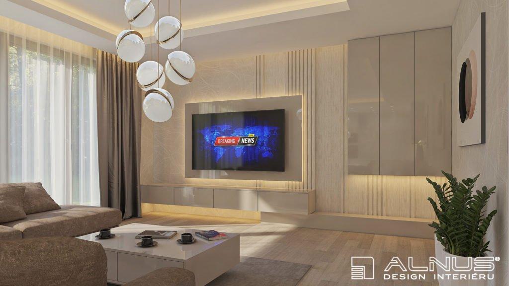 moderní obývací pokoj s podsvícením stropu a tv