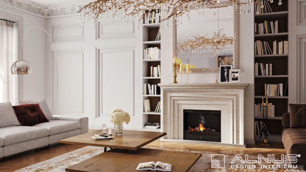 klasický interiér obývacího pokoje s krbem ve stylu první republiky