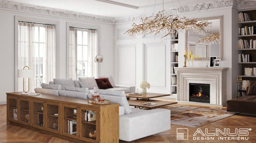 obývací pokoj s krbem v klasickém interiéru první republiky