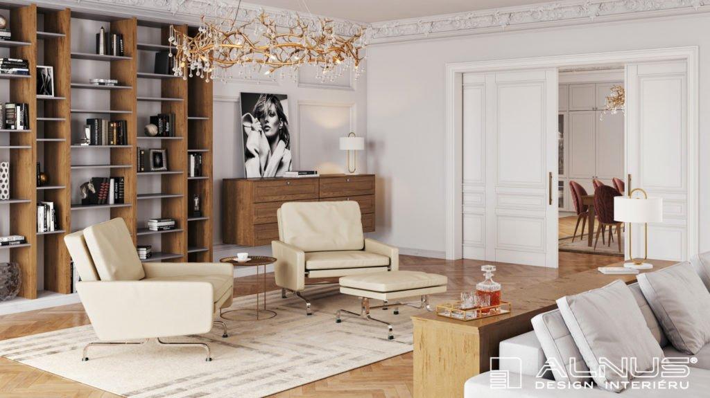 klasický interiér obývacího pokoje s knihovnou ve vile z první republiky