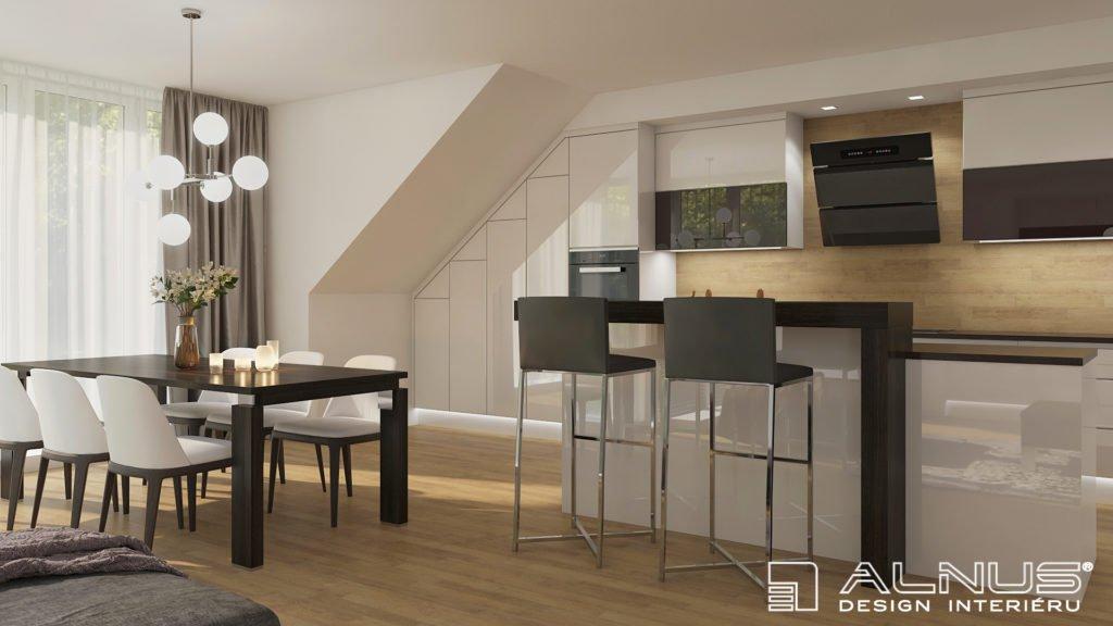 rekonstrukce bytu v podkroví kuchyně s obývacím pokojem v bílé barvě