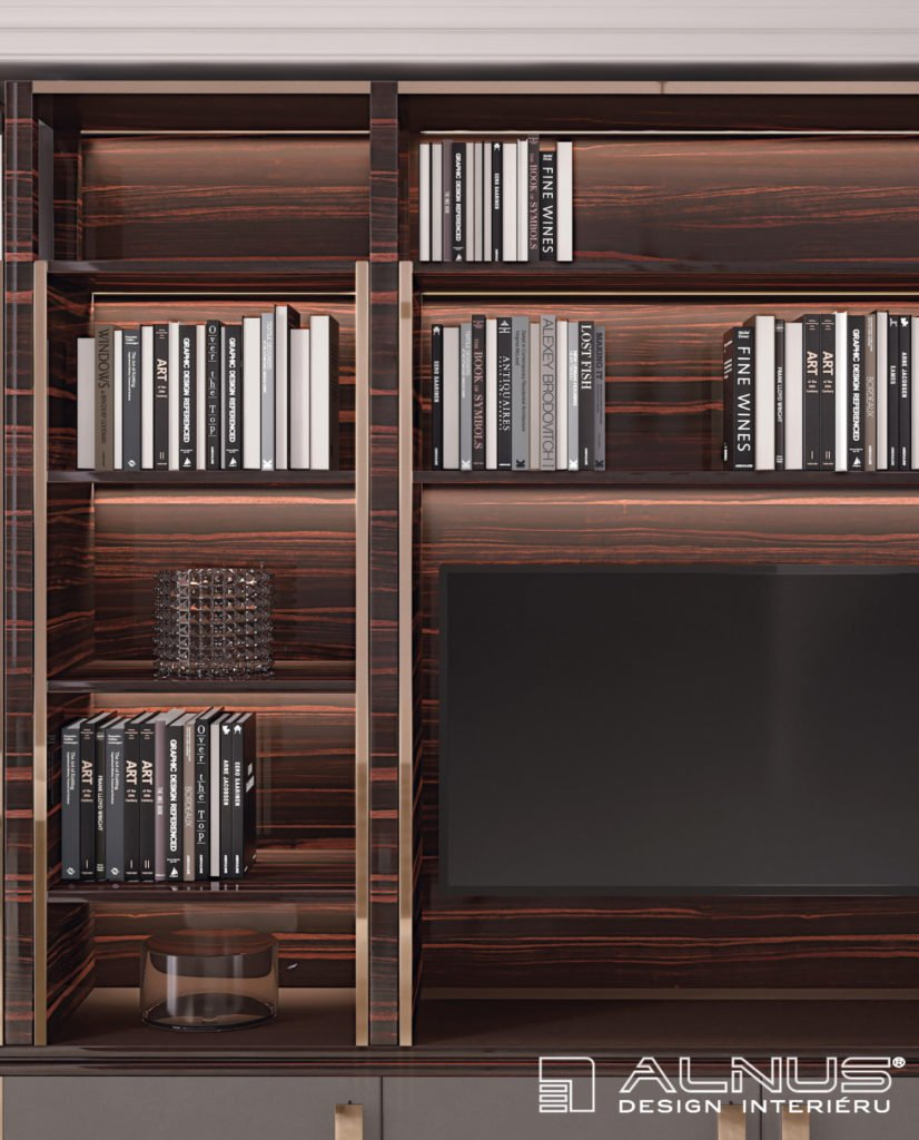 detail knihovny s prvky art deco