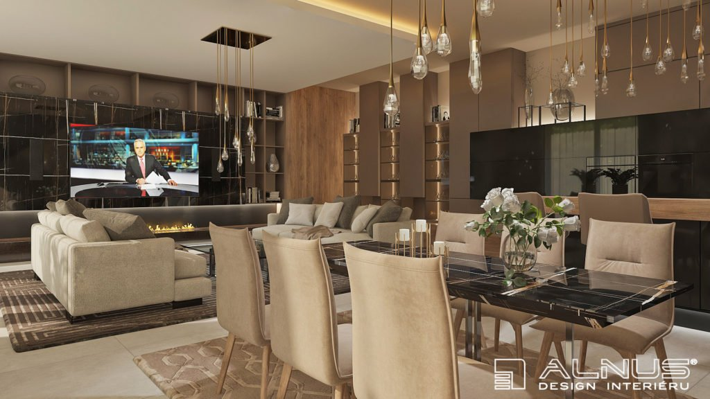 kuchyně s obývacím pokojem v barvě kapučíno