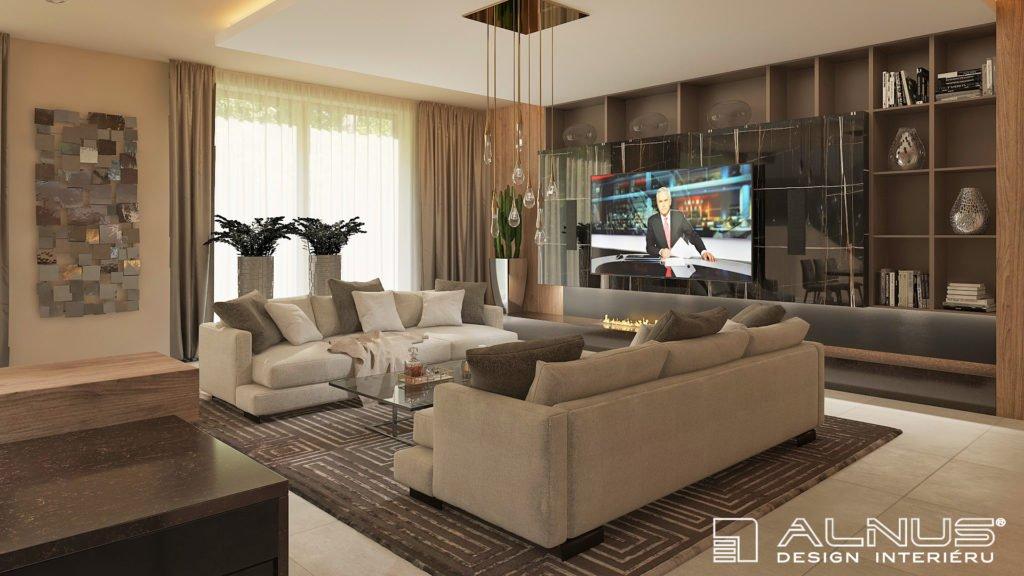 moderní obývací pokoj s krbem a černým mramorem ve vysokém lesku
