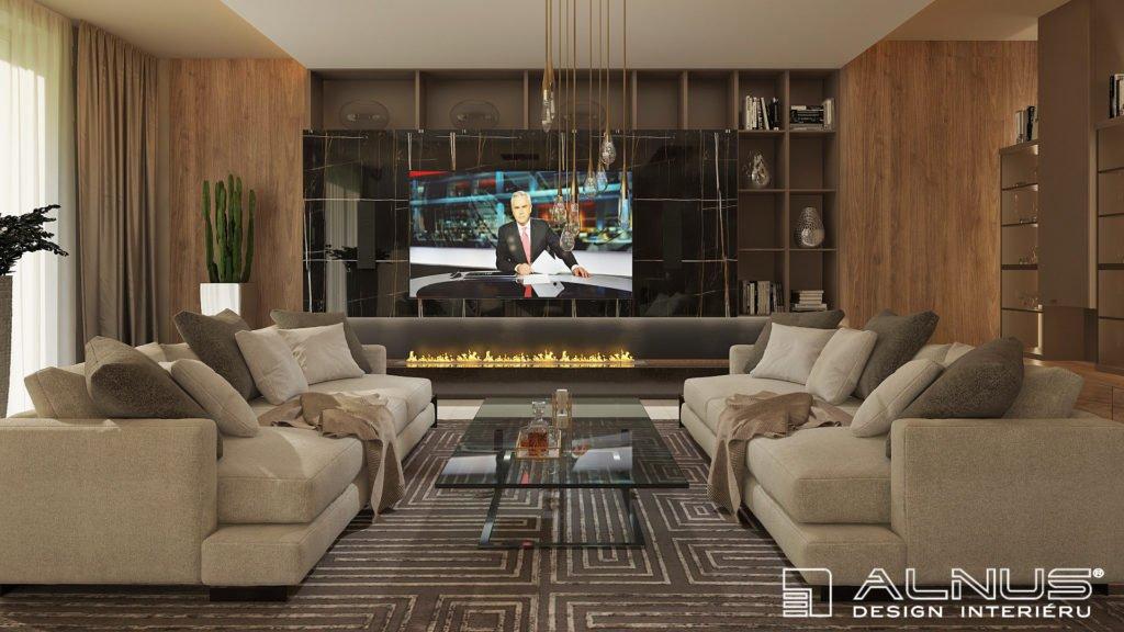 moderní obývací pokoj s krbem a černým mramorem
